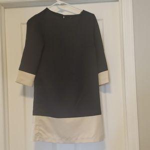 Black & Tan color block shift dress